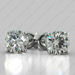 3.00 TCW ROUND Cut DEF VVS1 Moissanite Stud Earring 14k White Gold Finish