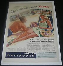 Print Ad 1941 TRAVEL Greyhound Bus Super-Coach ART Southern Winter Destinations
