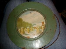 "Vintage Stove Chimney Pipe Flue Cover Wall Art - Fall Farm Scene 7 3/4"""