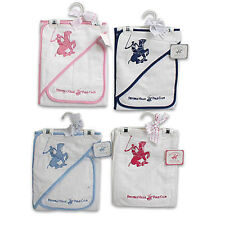 Beverly Hills Polo Club Baby Hooded Towel + Washcloth Gift Set Boy Girl Infant
