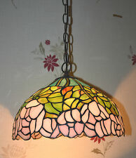 "PL02 Handmade 12"" Floral Glass Tiffany Ceiling Pendant Light- Home/Birthday Gift"