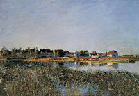 Oil painting Alfred Sisley - View of Saint-Mammes impressionism landscape canvas