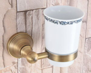 Antique Brass Bathroom Wall Mount Single Ceramic Cup Toothbrush Holder  aba166