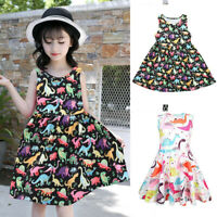 Toddler Baby Girl Summer Cartoon Print Vest Sleeveless Dress Outfit Kids Clothes