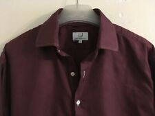 DUNHILL MENS DOUBLE CUFF DARK RED SHIRT SIZE 17.5