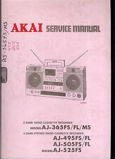 Orig Factory Akai AJ 365 495 505 525 FS AM FM Cassette Boombox Service Manual