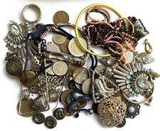 VTG Job Lot Bits&Bobs spares Craft Curio,ring,coins,buttons,Tinbox inc silver
