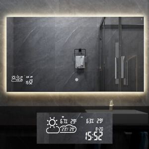Smart Bathroom Mirror with Weather Forecast Dimmable LED Light Antifog Mirror