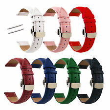 Crocodile Grain Watch Band Butterfly Clasp 12mm-24mm Genuine Leather Watch Strap