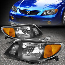 FOR 01-03 MAZDA PROTEGE BLACK HOUSING AMBER CORNER DRIVING HEADLIGHT/LAMPS SET