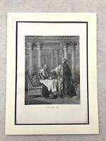 Antico Ebraico Stampa Queen Esther Haman Purim Talmud Story Judaica 1870