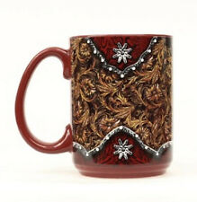 HORSE & WESTERN GIFTS DECOR  OVERSIZE MUG TOOLED WITH TOOLED DESIGN BROWN RED