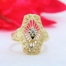 Antique 14 k yellow gold ladies diamond ring Art Deco filigree design