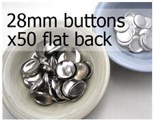28mm self cover metal BUTTONS FLAT backs (sz 45) 50 QTY + FREE instructions