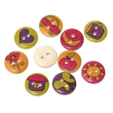100pcs Mixed 2 Hole Colourful Wooden Round Craft Buttons Sewing Card Making 15mm