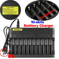 10 Slots Battery Charger Smart Charging For Rechargeable 18 650 14500 Batteries*