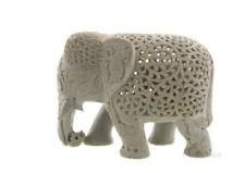 -statue Elefant de pierre Indien klein Chef -speisen -Stein Elefant Carving-7500