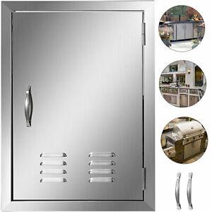 BBQ Tür Lüftungsschlitzen Außenküche 43X61cm Edelstahl Grilltür 3 Haken 2 Griffe