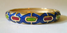 ROUND ENAMEL BANGLE WITH SPRING CLASP OPENING - BLUE SPOTS IN COLOURED GIFT BOX