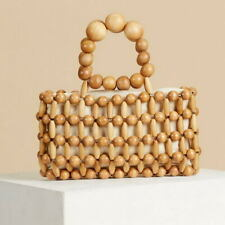 Women Handbag Straw Woven Tote Large Capacity Summer Wooden Bead Bag Handbag  SU