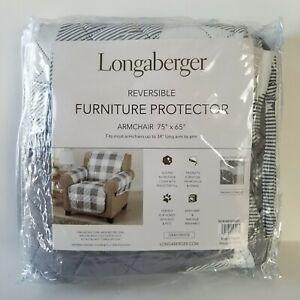 Longaberger Weyland Reversible Furniture Protector Air Chair Buffalo Check Gray