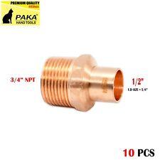 "1/2"" C x 3/4"" Male NPT Threaded Copper Adapters (10 PCS )"