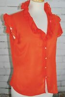 ST. JOHN COUTURE Silk Sleeveless Sheer Ruffle Top Women's Size 8 Orange As Is