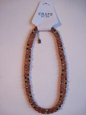 "Chaps Double Strand Textured Silver & Brown Bead Necklace 18"" Necklace, FREE S&H"