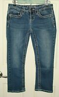 Maurices Womens Size 3/4 (30x22.5) Distressed Thick Stitch Capri Jeans 52-14295