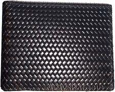 New Italian style Woven printed leather man's bi-fold wallet 9 Credit card+ID bn