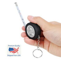 Car Tire 1m Tape Measure Travel Camping Keychain Ruler Mini Retractable Sewing