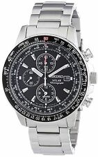 Seiko Men's SSC009 Solar Chronograph Black Dial Flight Watch SSC009P1