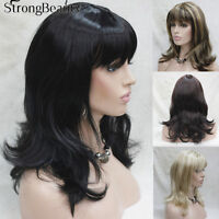 Fashion Women's Medium Length Natural Black Wavy Wig Neat Bang wigs for Women