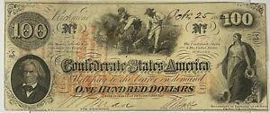 1862 $100 One Hundred Dollar Bill Confederate States Currency Richmond VA XF-AU