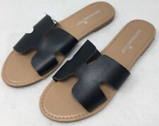 Montego Bay Club TANGO Faux Black Leather Slide Slip On Sandals Size 11 NEW