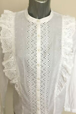 M&S Collection Sze 12 16 20 Victoriana Broderie Anglaise Lace Long Sleeve Blouse