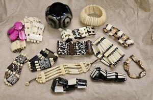 Bone & Bead Tribal Costume Jewellery, Bundle of 14 Bracelets. Vintage to Modern