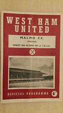1961 coincidencia-West Ham United amigable V Malmo F. F, 30 de octubre de 1961