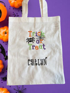 Personalised Embroidered Halloween Trick Or Treat Sweet Candy Bag Kids Boy Girl