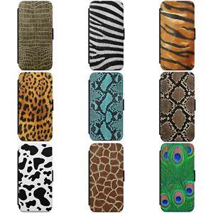 ANIMAL LEOPARD SKIN PRINT PATTERN WALLET FLIP PHONE CASE COVER FOR IPHONE MODELS