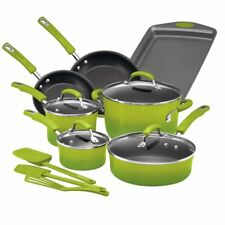 Rachael Ray 14 Piece Aluminum Cookware Set Bright Bold and Green