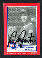 Cris Carpenter #19 signed autograph auto 1990 US Federation Team USA Card
