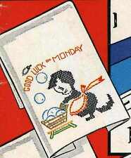 Lucky Kittens in Cross Stitch for Days of the Week Towels 659 Vintage Embroidery