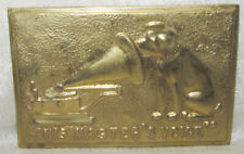 """Nipper Victor Edison dog phonograph polished bronze wall plaque 7"""" x 9-1/2"""""""