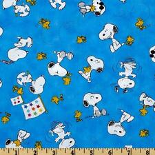 """Peanut Project Linus Snoopy & Woodstock Toss 100% cotton  fabric remnant 34"""""""