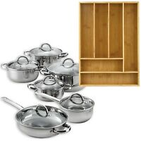 12 Piece Cookware Set Stainless Steel Pots Pans + Bamboo 6 Slot Organizer Tray