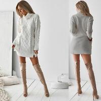 Knitted Jumper Mini Sweater Turtleneck Pullover Womens Dress Long Sleeve