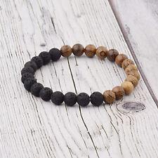 Men Women Healing Balance Stone Sandalwood 8mm Wooden Beads Reiki Yoga Bracelets