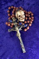 Antique Rosary Memento Mori Carved Half Face Skull Agate Crucifix Carpe Diem