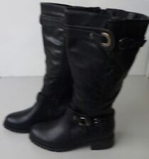 Faux Leather Black Boots with Buckle detailing at the Ankle & Calf Size 3 - BNWT